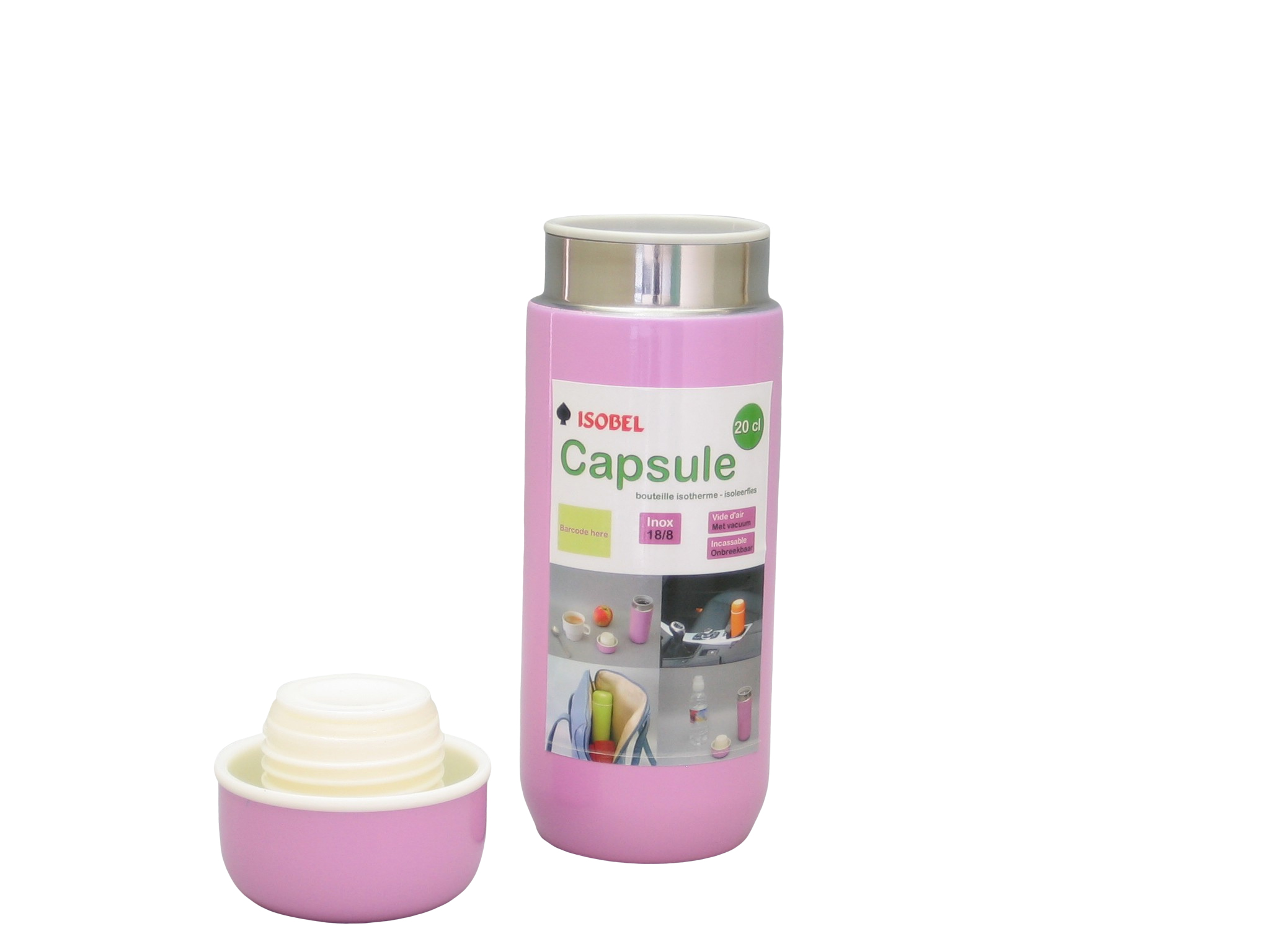 CAPSULE-132 - Bouteille isotherme inox incassable fuchsia 0.20 L - Isobel
