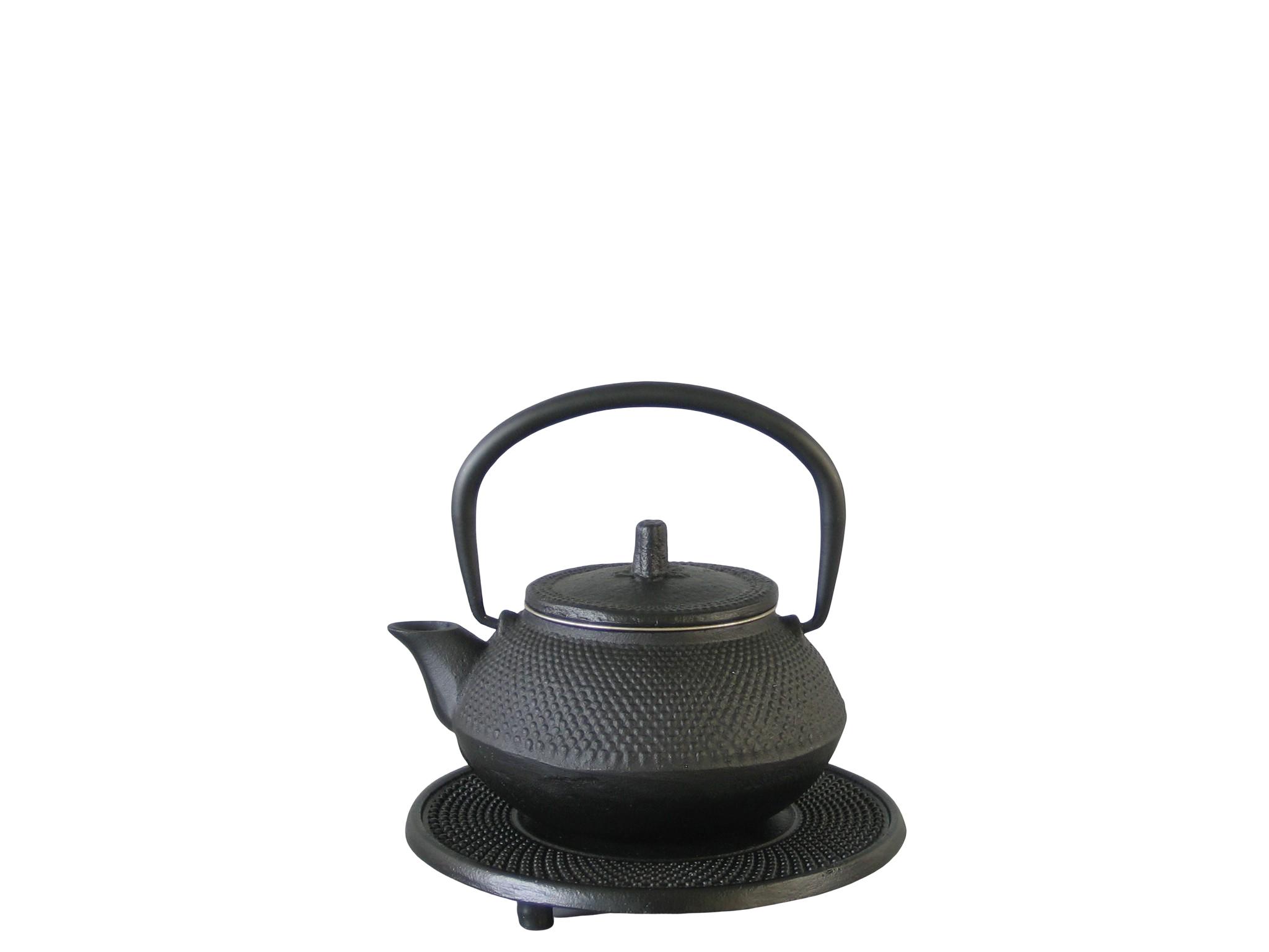 KOBE030 - Cast iron teapot enameled interior 0.30 L - Green Leaf