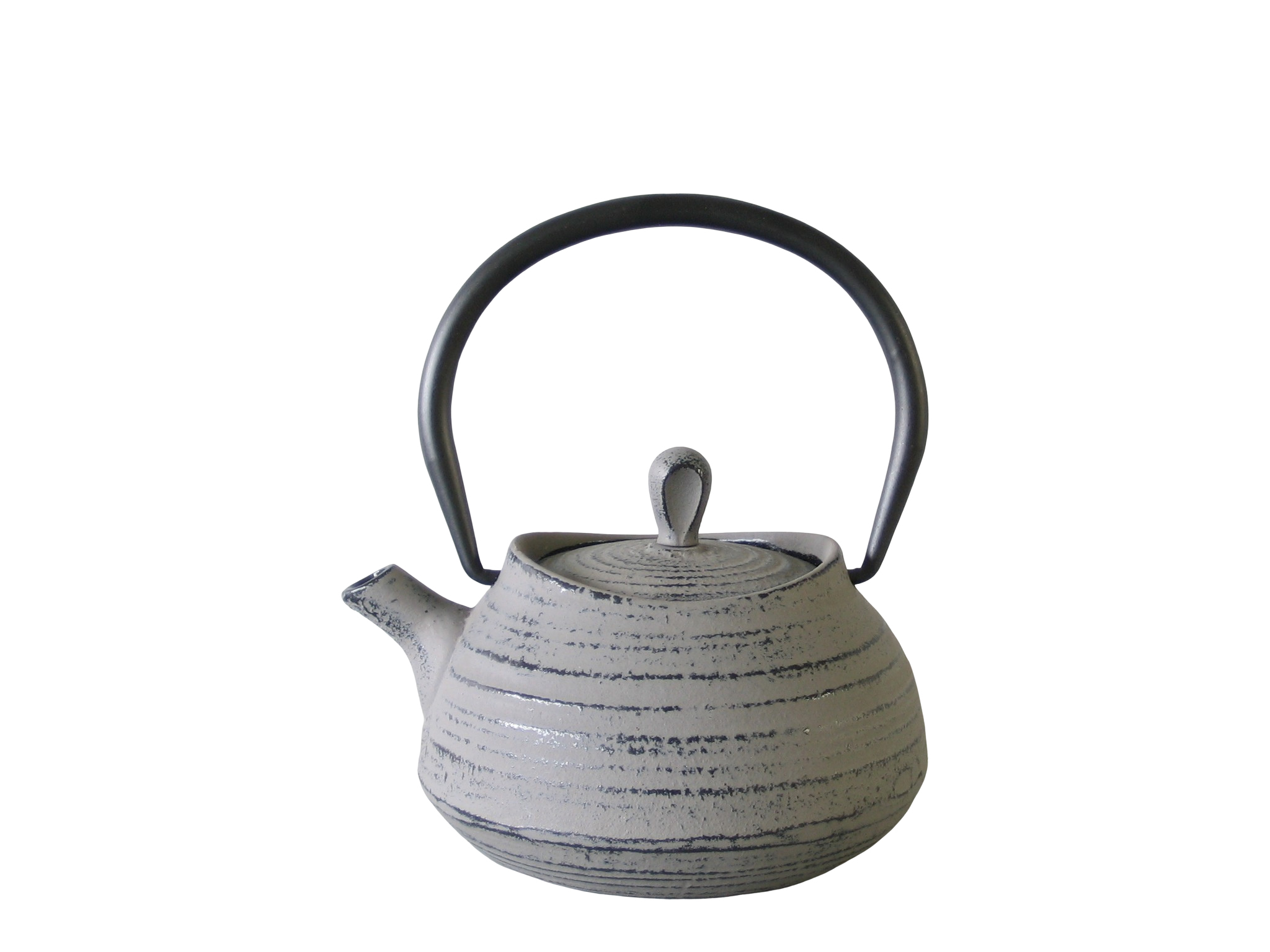 MOUNTAIN045-074 - Cast iron teapot enameled interior 0.45 L Light grey color - Green Leaf